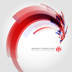Abstract vector background element in red and blue colors curve swirl perspective.