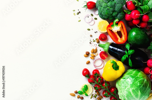 Fotobehang Groenten Set of fresh vegetables on a white background. Aromatic herbs, onion, avocado, broccoli, pepper bell, eggplant, cabbage, radish, cucumber, almonds, rucola, baby corn. Banner