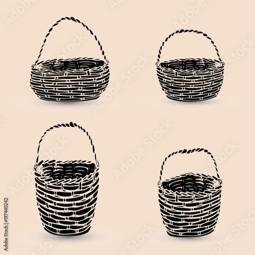 Collection of black baskets, silhouette on beige background, Fototapete