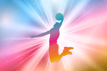 Basketball Player Silhouettes, Colorful, Rainbow