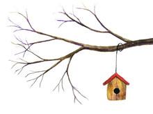 Watercolor Birdhouse Hanging On Branch.isolated White Background.