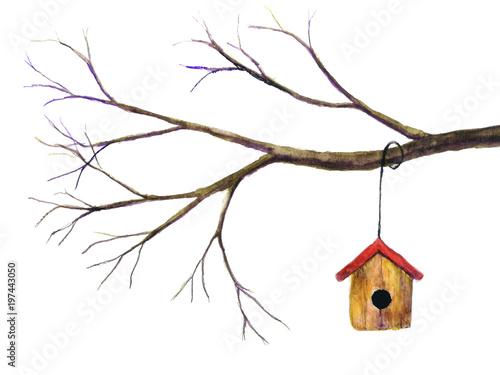 Carta da parati watercolor birdhouse hanging on branch