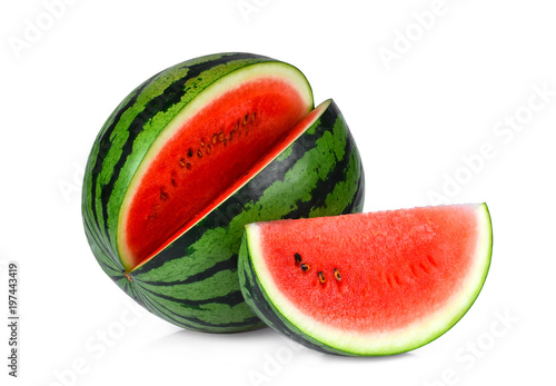 whole and slices watermelon isolated on white background