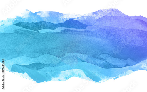 blue multilayer watercolor strip against white background. water divergent transparent sea wave For design element with place for text. #197444636