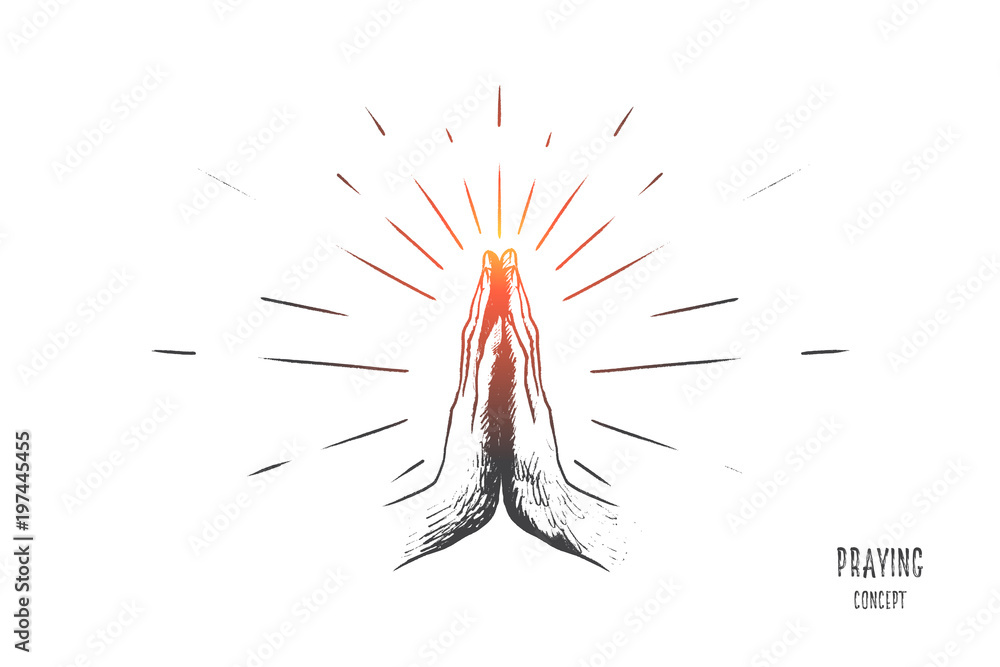 Fototapety, obrazy: Praying concept. Hand drawn hands in praying position. Prayer to god with faith and hope isolated vector illustration.
