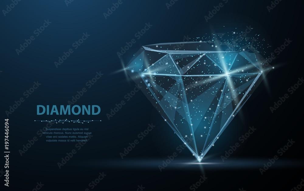 Fototapeta Diamond. Jewelry, gem, luxury and rich symbol, illustration or background