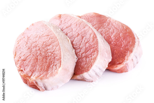 Raw sliced pork loin isolated on white background. Fresh meat.