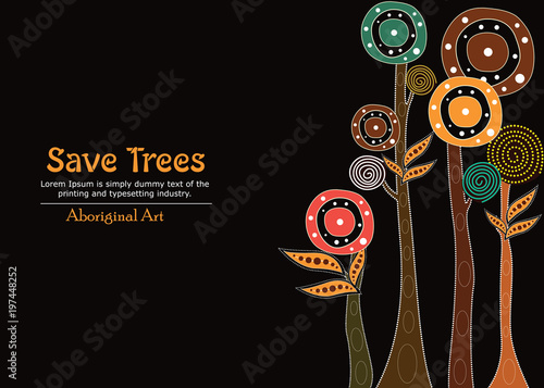 Photo Aboriginal tree, Aboriginal art vector painting with tree, Save tree banner background
