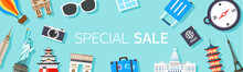Horizontal Shopping Banners With Travel