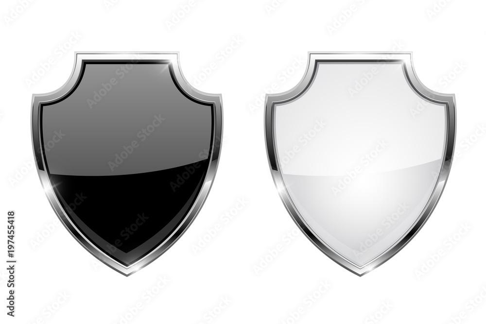 Fototapeta Metal 3d shields. Black and white glass icons with chrome frame