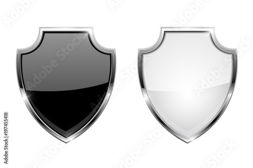 Fotografie, Obraz Metal 3d shields. Black and white glass icons with chrome frame