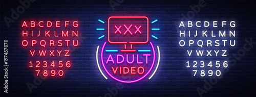 Adult video neon sign. Design template, neon logo xxx video, sex industry, light banner, night bright light advertisement. Vector illustration. Editing text neon sign