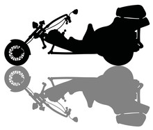 The Black Silhouette Of A Heavy Motor Tricycle