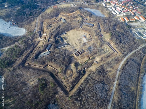 Aerial view of star shaped Boyen stronghold in Gizycko, Poland (former Loetzen, Fototapete