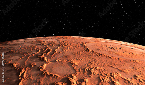 Mars - the red planet. Martian surface and dust in the atmosphere.
