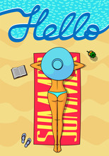 Girl In Swimsuit Is On Beach. Writing Hello, Summer. Poster