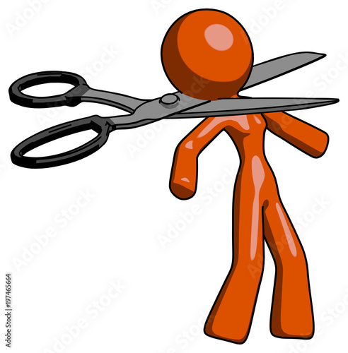 Fotografia, Obraz  Orange Design Mascot Woman scissor beheading office worker execution