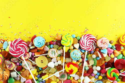 Foto op Plexiglas Snoepjes candies with jelly and sugar. colorful array of different childs sweets and treats.