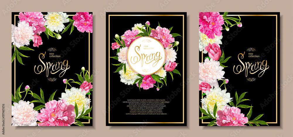 Zestaw trzech kwiatów tła z kwitnących różowe i jasnożółte piwonie, pąki, zielone liście. Wiosna napis. Szablon do karty, transparent na 8 marca, dzień matki, urodziny, sprzedaż, wesele <span>plik: #197467676   autor: ledelena</span>