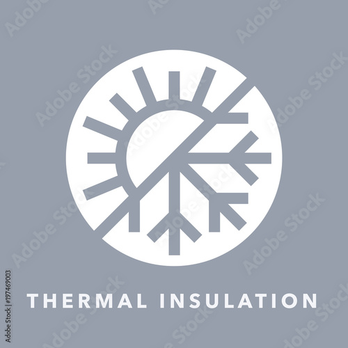 Obraz Thermal insulation icon with sun and snowflake warmth symbol. Vector illustration. - fototapety do salonu