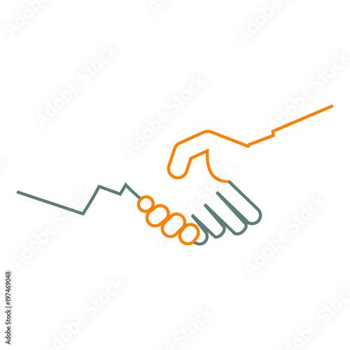 Logotipo manos unidas lineal en gris y naranja Wallpaper Mural