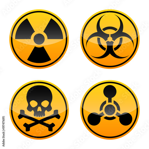 Danger Vector Sign Set Radiation Sign Biohazard Sign Toxic Sign
