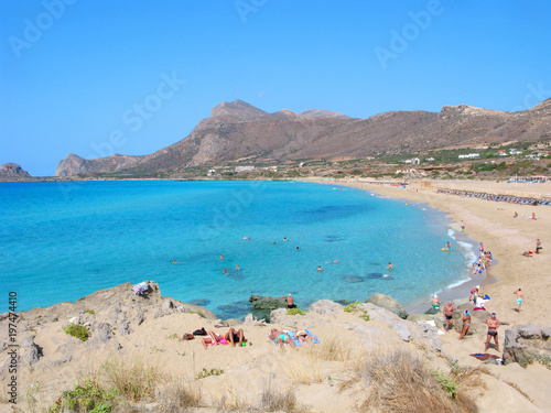 Foto op Canvas Cyprus Crete, Greece, Falasarna beach. It is long sandy beach in gulf with turquoise water and beatiful landscape with mountains. It is located in Chania region and is famous beach near Kissamos.