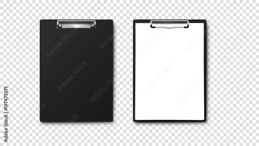 Fototapety, obrazy: Empty Paper Holder And Clipboard With A4 Paper Stack. Isolated On Tansparent Background Vector Template