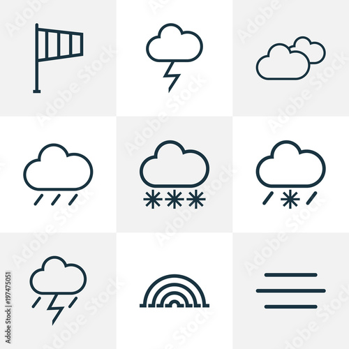 Fototapeta Climate icons line style set with lightning, cloudy sky, arc and other lightning  elements. Isolated vector illustration climate icons. obraz na płótnie