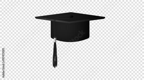 Fotografia  Realistic Vector Black Graduate Hat Isolated On Transparent Background