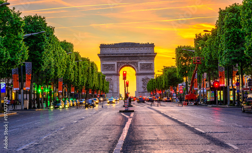 Fotografie, Obraz  Champs-Elysees and Arc de Triomphe at night in Paris, France