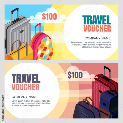 Vector Travel Voucher Template D Isometric Illustration Of