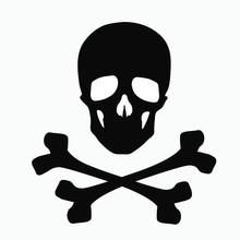 Skull And Bones - A Sign Of Danger. Illustration Isolated On White Background.