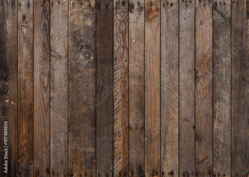 Wood texture. Big weathered wooden background from planks with rusty nails. Sharp and highly detailed. - 197489856