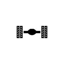 Car Rear Axle Suspension. Flat Vector Icon. Simple Black Symbol On White Background
