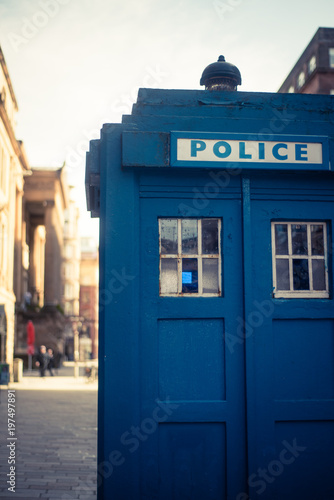Vintage Blue British Police Box Wallpaper Mural