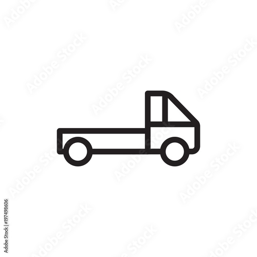 Pickup Truck Cargo Truck Outlined Vector Icon Modern