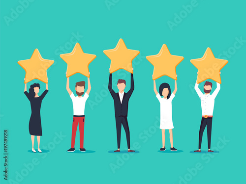 Obraz Five stars rating flat style vector concept. People are holding stars over the heads. Feedback consumer - fototapety do salonu