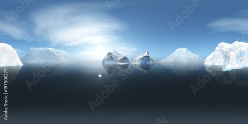 icebergs, ice in the northern sea, HDRI, environment map, Round panorama, spherical panorama, equidistant projection, panorama 360