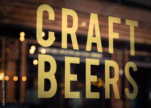 Photo  Craft Beer Sign in Brewery Window