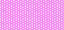 Rectangle Seamless Baby Pattern Of White Animal Paw Prints On Pink Background.