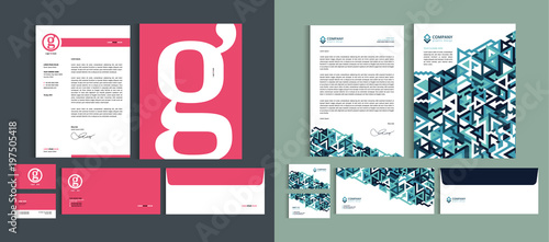 Fototapeta Set of Business identity design templates. Stationery set -  Letterhead A4 template, name card (3,5 x 2), envelope (8.66 x 4.33), presentation folder(9 x 12). Vector illustration. obraz
