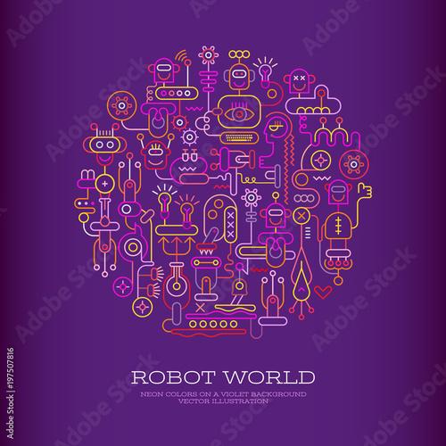 Staande foto Abstractie Art Robot World vector design