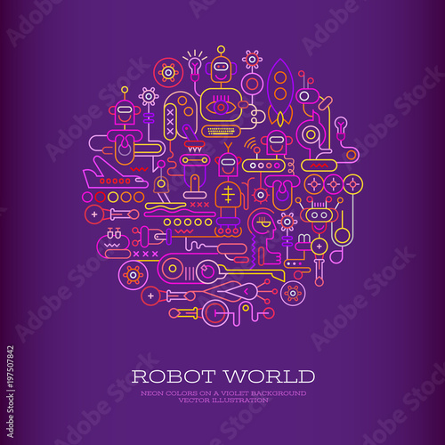 Staande foto Abstractie Art Robot World vector illustration
