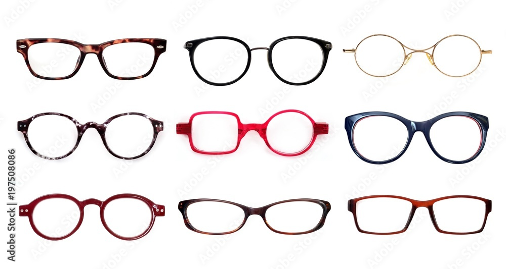 Fototapety, obrazy: Set of glasses isolated on white background for applying on a portrait