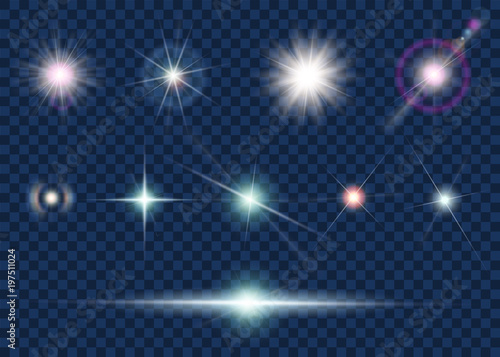 Set of light effect and star
