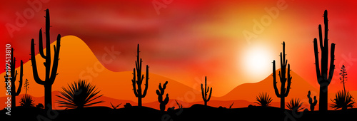 Sunset sun in the desert.Sunset sun in a stony desert