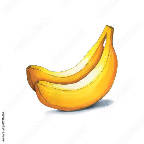 dwa-banany-rysunek-na-bialym-tle