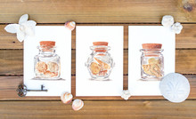 Three Paper Cards Mockup With Shells On Wooden Background