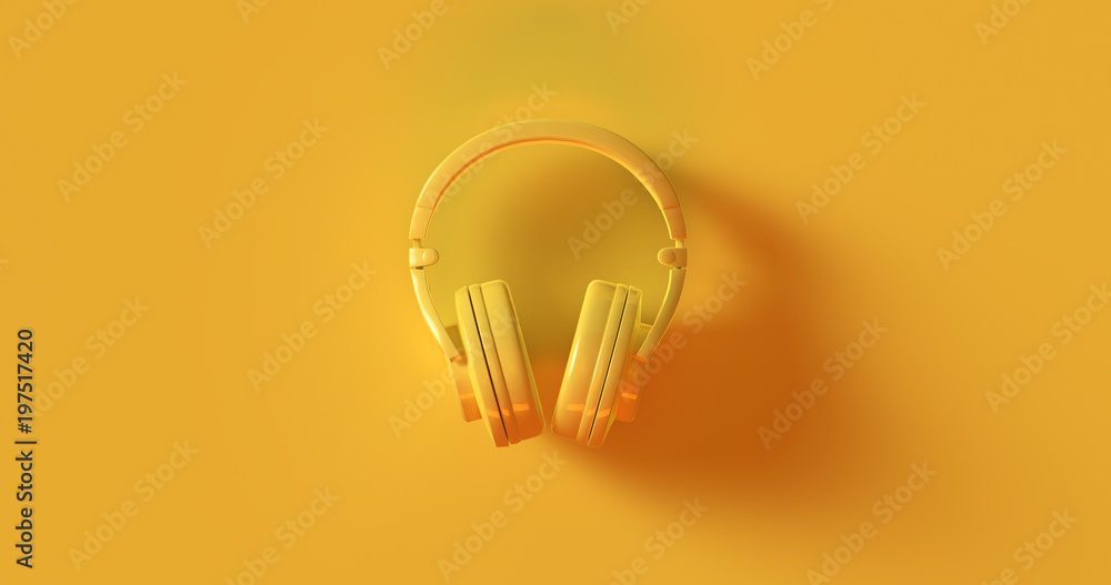Fototapety, obrazy: Yellow Headphones 3d illustration